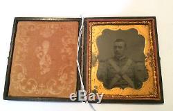 1/4 Plate Antique Tintype Photo Civil War Soldier Militia Member in Full Case