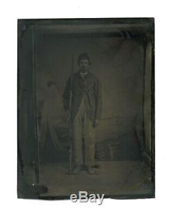 1/4 Plate Civil War Tintype Union Soldier Armed with Lemille A Liege Rifle