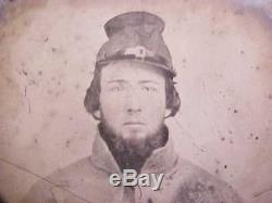 1/6 Ambro Civil War Soldier Photograph CONFEDERATE in Grey Overcoat Floppy Kepi
