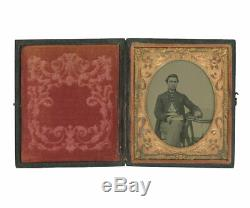 1/6 Plate Civil War Ruby Ambrotype of Just-Enlisted Union Volunteer Soldier