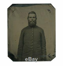 1/6 Plate Civil War Tintype of Bearded Union Infantry Soldier