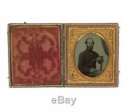 1/6 Plate Civil War Tintype of Double Armed Soldier Two 1849 Colt Pocket Rev