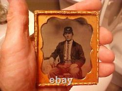 1/6 Plate Tintype Photograph of Civil War Infantry Soldier withKepi, TAX Stamp etc