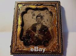1/6th. P Ambrotype Civil War Armed Confederate Soldier Hat in Half Case