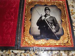 1/6th Plate Ruby Ambrotype of Civil War Soldier Rifle, Sword &Canteen