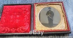 1/6th plate Civil War tintype of union soldier huge calvary sword