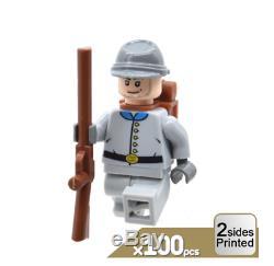 100PCS/ Lot The South Confederate American Civil War Soldier War MOC Fit Lego