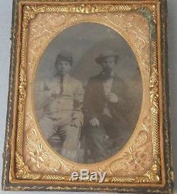1850s Civil War Era Ambrotype Photo of Soldier Cadet Quarter 1/4 Plate