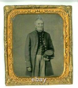 1860's Civil War Old Man Union Soldier with Beard Tin Type Photo in GF Frame