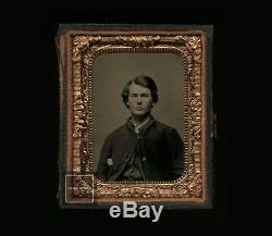 1860s 1/9 Tintype Photo Handsome Young Civil War Soldier
