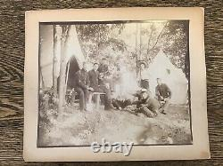 1860s Antique LOT of 2 Civil War PHOTOS CAMP Northern Musician Soldiers (aT)
