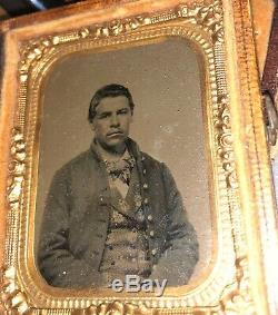 1860s CIVIL WAR SOLDIER Cased Ambrotype Photo