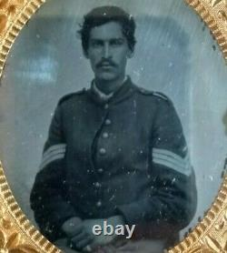 1860s CIVIL War Soldier 1/6th Plate Ambrotype Unknown Sergeant Sgt Nice Chevrons