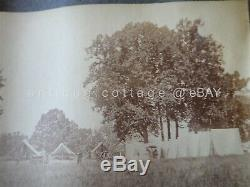 1860s antique LOT of 2 civil war era PHOTOS CAMP Wm McCLELLAN soldier tent horse