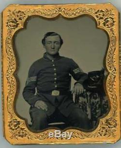 1861-65 CIVIL War Union Sargeant Soldier & Girl 6th Plate Tintype Hardee Hat