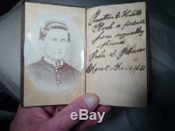 1861 CIVIL WAR SOLDIER PHOTO & POCKET BIBLE from RICHMOND INDIANA ESTATE VG