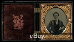 1862 Ambrotype Photo ID'd Civil War Soldier w Muster Card & AURORA RIFLES Banner