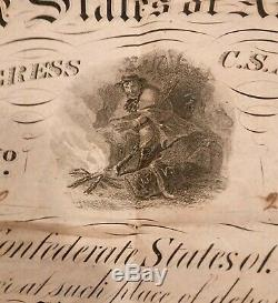 1863 Confederate CIVIL War $500 Bond With All 10 Coupons Soldier At Center