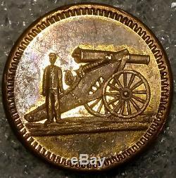 (1865) CIVIL War Encampment Medal Crossed Cannons / Soldier Rare