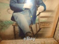 19. C Pastel Painting of a Seated Civil War Soldier in Uniform at an Encampment