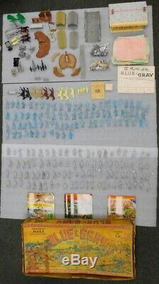 1961 Marx Giant Blue & Gray Civil War Playset Toy Soldier Battle Set Complete