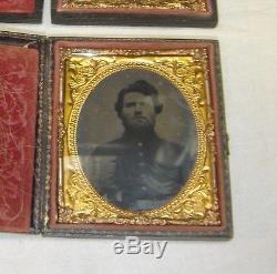 2 Civil War Tin Types the man as a Soldier & him as a Civilian Armed 7424