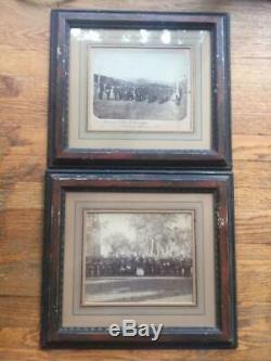 2 Framed Civil War Albumen Photos 5th Connecticut Infantry Band Musician Soldier