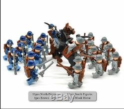 24 Pcs American Civil War Army Union North South Soldiers US Figures Lego MOC