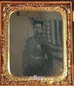 3 Beautiful US Civil War Soldier tintype photos uniform and armed