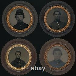 (4) Civil War Soldiers Uniform Kepi Tintypes In Thermoplastic Oreo Cases O176