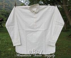 48 Small Civil War Reenactors Soldiers White Muslin Cotton Long Sleeve Shirt