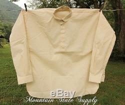 4XL U. S. Civil War Reenactors Soldiers Unbleached Cotton Long Sleeve Shirt XXXXL