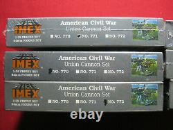 6 American Civil War Confederate + Union Cannon Figure Set Imex 132 US Soldiers