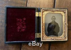 6th Plate Tintype Photo Early Civil War Soldier In Union Farm Boy Case 1860s