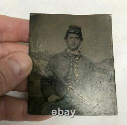 6th Plate Tintype of Civil War Soldier, Camp Background, Tinted Blue Pants, Gilt
