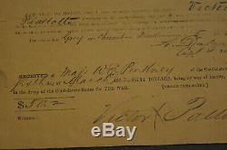 ANTIQUE 1862 CIVIL WAR CONFEDERATE SOLDIER'S ReEnlistment Louisiana RARE