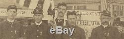 ANTIQUE 19th CENTURY SOLDIERS SV CIVIL WAR SON MANCHESTER NH AMERICAN FLAG PHOTO