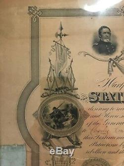 ANTIQUE Civil War Certificate CITIZEN SOLDIERS Connecticut 1867 Framed with Ribbon