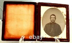 Ambrotype of Civil War Soldier in Case, piping on collar, watch chain, more
