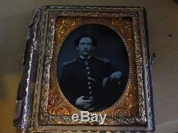Antique 1/9 Plate Ambrotype Glass Photo of Civil War Military Officer Soldier