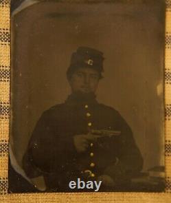 Antique 1860's Civil War Union Soldier Revolver Gun 1/9 Plate Tintype Photograph