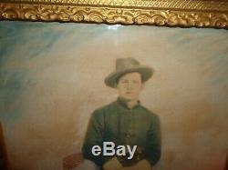 Antique 19th. C Pastel Image Civil War Soldier, Encampment, Flag, Sword, Pistol