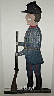 Antique American 19th C Weathervane Civil War Soldier Folk Art Iron Sign GAR