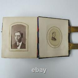 Antique CIVIL WAR ERA Photo Album CDV Tintypes All civilians No soldiers 6.25x5