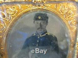 Antique CIVIL WAR Officer Soldier Cappy Ambrotype Photograph Military Union Case