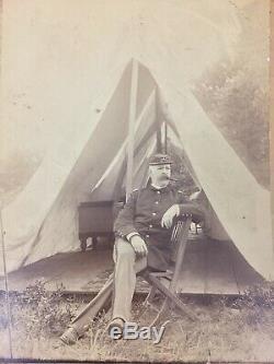 Antique Civil War Cabinet Card Photo 2nd Infantry Soldier 8X10 Rhode Island