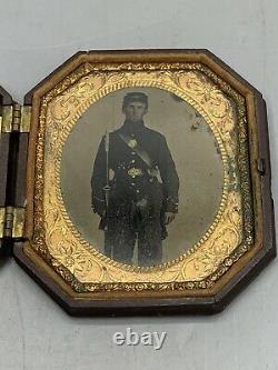 Antique Civil War Era Ambrotype Young Union Soldier Photograph Pocket Case