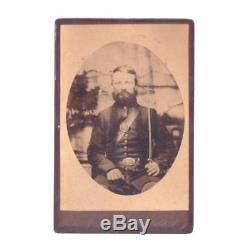 Antique Civil War Era Cabinet Card Photo Union Soldier with Sword Plainfield NJ