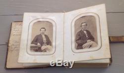 Antique Civil War Era Leather Photo Album Soldiers Uniforms Women Military 6x4
