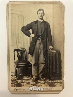 Antique Civil War Giant Soldier IDd 6th Reg. Iowa Keokuk Cdv Photo
